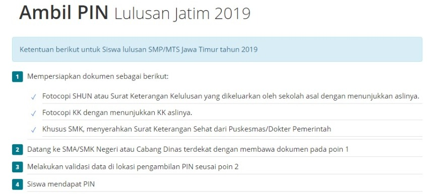 Persyaratan Ambil Pin PPDB 2019